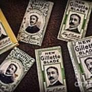 Barber - Vintage Gillette Razor Blades Art Print
