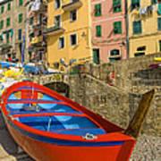 Barca Rossa A Rio Maggiore Art Print