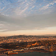 Barcelona On Sunrise. Aerial View Art Print