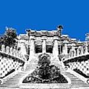 Barcelona Skyline Park Guell - Blue Art Print