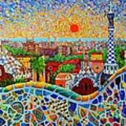 Barcelona View At Sunrise - Park Guell  Of Gaudi Art Print
