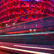 Barcelona's Agbar Tower With Touristic Bus Art Print