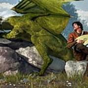 Bard And Dragon Art Print by Daniel Eskridge