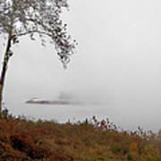 Barge In Fog On Ohio River Art Print