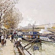 Barges On The Seine Art Print by Eugene Galien-Laloue