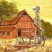 Barn  -  Windmill  -  Old Rake Print by Kenneth  LePoidevin