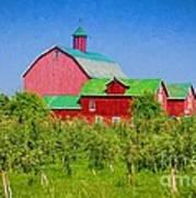 Barn And Apple Orchard Art Print