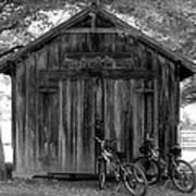 Barn And Bikes Art Print by Paulette Maffucci