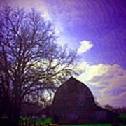 Barn And Oak Digital Painting Art Print