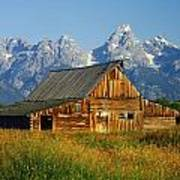 1m9394-barn And The Tetons Art Print