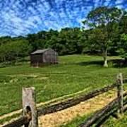 Barn At Hartwood Acres Under Beautiful Sky Art Print