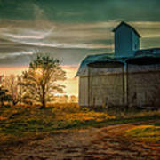 Barn At Sunset Art Print