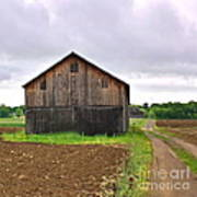 Barn By The Road Square Art Print