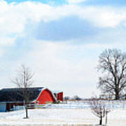 Barn Covered With Snow Art Print by Tina M Wenger