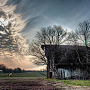 Barn In A Field With A Horse Art Print
