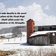 Barn In Winter With Psalm Scripture Art Print