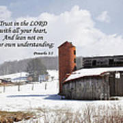 Barn In Winter With Scripture Art Print