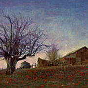 Barn On The Hill - Big Sky Art Print by R christopher Vest