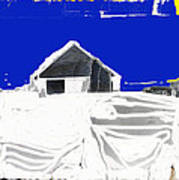 Barn Snow Storm Rc Guss Photo 1951 Collage St. Paul Park Minnesota Color Drawing Added Art Print