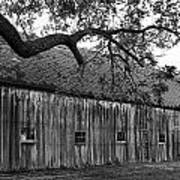 Barn With Brick Silo In Black And White Art Print