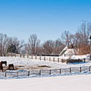 Barn With Horses  Art Print