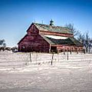 Barn With Melting Snow Art Print
