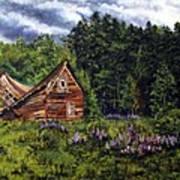 Barn With Purple Flowers Art Print