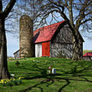 Barn With Silo In Springtime Art Print