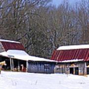Barns And Horses In Winter Art Print