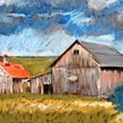 Barns On Maple Street Art Print