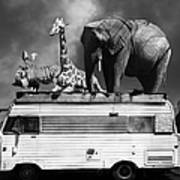 Barnum And Bailey Goes On A Road Trip 5d22705 Vertical Black And White Art Print