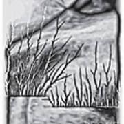 Abstract Trees On Barren Landscape Art Print