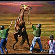 Barrington Harvey Looks On Horse Peekarandoconer Moment Art Print