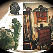 Barry Sadler And Part Of His Weapon's  Nazi Memorabilia Collection Collage Tucson Arizona 1971-2013 Art Print