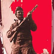 Barry Sadler Machine Gun Authentic Ww2 Africa Korps Hat Camouflage Clothes Collage Tucson 1971-2012 Art Print