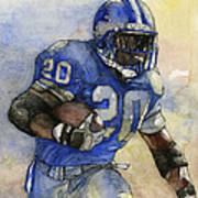 Barry Sanders Art Print by Michael  Pattison