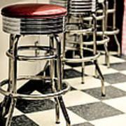 Barstools Of Vintage Roadside Diner Art Print by Phillip Rubino