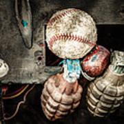 Baseball And Hand Grenades Art Print