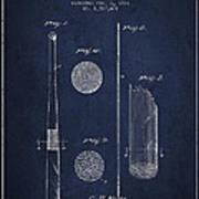 Baseball Bat Patent Drawing From 1921 Art Print