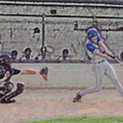 Baseball Batter Contact Digital Art Art Print