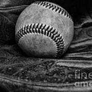 Baseball Broken In Black And White Print by Paul Ward