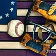 Baseball Catchers Mask Vintage On American Flag Art Print
