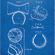 Baseball Construction Patent 2 - Blueprint Art Print