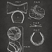 Baseball Construction Patent 2 - Gray Art Print