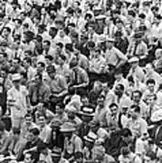 Baseball Fans In The Bleachers At Yankee Stadium. Art Print by Underwood Archives