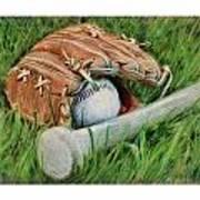 Baseball Glove Bat And Ball Art Print