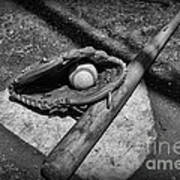 Baseball Home Plate In Black And White Art Print by Paul Ward