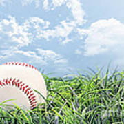 Baseball In Grass Art Print by Stephanie Frey