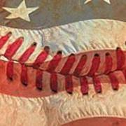 Baseball Is Sewn Into The Fabric Art Print by Heidi Smith