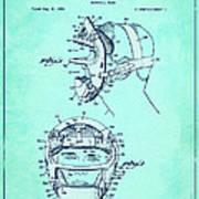 Baseball Mask Patent Blue Us2627602 A Art Print